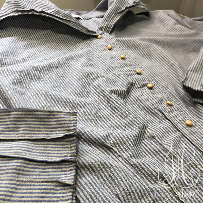 Cordelia Dress in Sun and Sky Washed Seersucker, adorned with antique buttons, circa early 1900's.
