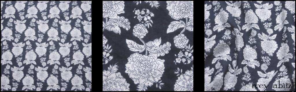 Black and White Floral Voile