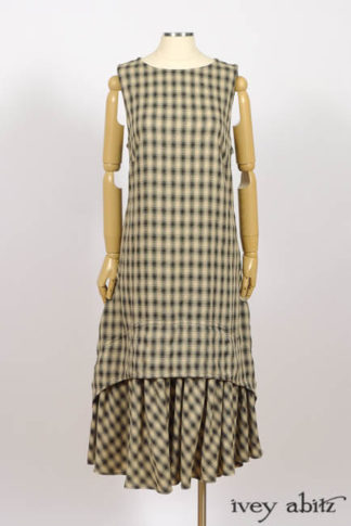 Blanchefleur Frock in Black and Natural Plaid Weave, High Water Length, by Ivey Abitz