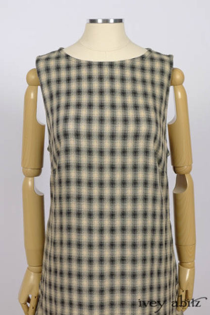 IA101 Blanchefleur Frock in Black & Natural Plaid Weave