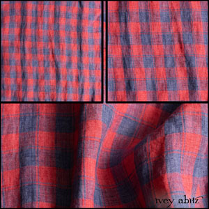 Description: The yarn dyed check weave creates a lovely alternating crisscross between the delightful Sea and Cape Rose hues.  It is just a skosh thicker than a true handkerchief linen, perhaps because of its tighter weave. A perfect choice for a summer frock and an even more perfect choice for garments you'd like to wear in layered ensembles year round.  Content: 100 percent linen, woven in Italy. All season weave. Care: Simply hand wash or put through machine delicate cycle in cold water with a plant based detergent. We suggest using a natural fabric softener to maintain the softness we have washed into it. Tumble dry on extra-low heat with our artisan wool dryer balls to keep the relaxed effect that is featured in the Look Book. You can easily change the drape and fit by spritzing the weave with water and reshaping the silk chiffon. It is very forgiving and wonderful.
