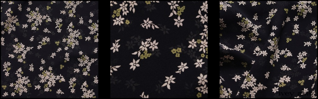 Chimney and Lawn Floral Silk Chiffon - Description: A Chimney (Black) background juxtaposes nicely with the muted Cream and Lawn (a pleasant light green) floral motif. It's a lovely option for those of you that love wearing dark hues year round but are looking for an added lightness that doesn't overpower an ensemble. This weave is ideal for our layering frocks like the Nook, Chittister, Wrennie, and Wildefield. Lovely in an accent sash. Stunning in a shirt with a Cilla Camisole in Chimney Lightweight Linen Knit under it. The options are plentiful, just in this one delightful weave for Spring 2018.