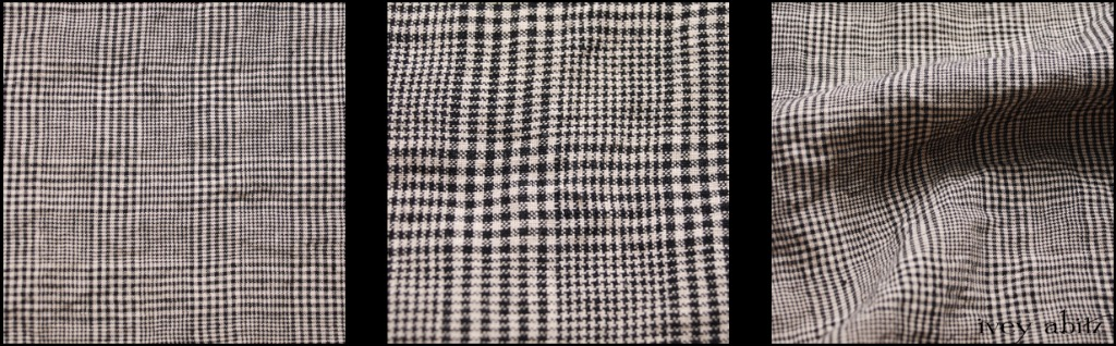 Chimney Washed Glen Plaid Linen - Description: Subtlety and refinement and its finest. A mix of Chimney (Black) with a Parchment hue. Yarn dyed Scottish glen plaid weave -- an old world weave with modern appeal. Pairs brilliantly with our Chimney Washed Houndstooth Linen.