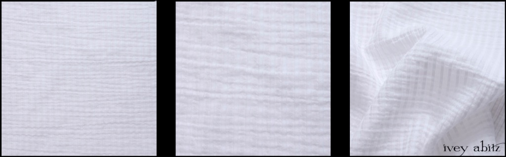 Clapboard White Wainscot Weave - Description: At first glance, it might just look like a basic white weave for a shirt or frock. But look more closely. There is quite a lot going on here in this stunning white weave. The stripes are actually intricately folded pieces of fabric that are sewn down, creating an effect that is somewhere in between a refined pintuck and an intricate fold. They create raised stripes and catch the light in amazing ways. These are alternated with woven voile stripes that are semi-transparent. Look even more closely, and you'll see embroidered stripes within these voile stripes. A white weave has never been finer.