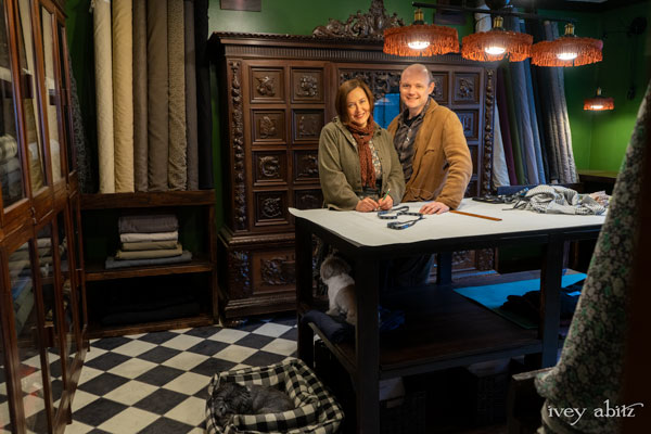 """Cynthia and Joshua Ivey Abitz in the Ivey Abitz Studio F - """"F"""" is for fabric!"""