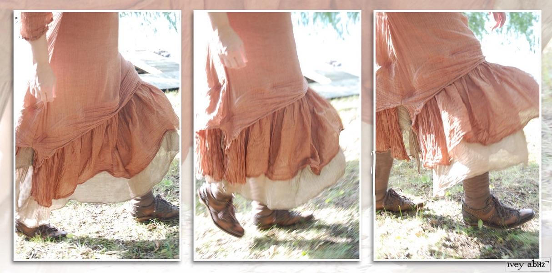 Blanchefleur Dress, high water length, over a Blanchefleur Frock, low water length, in cotton voile.