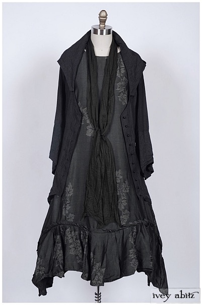 Henrietta Duster Coat and Fairholme Frock Debut (Willow Sash Around Neck), 2014.