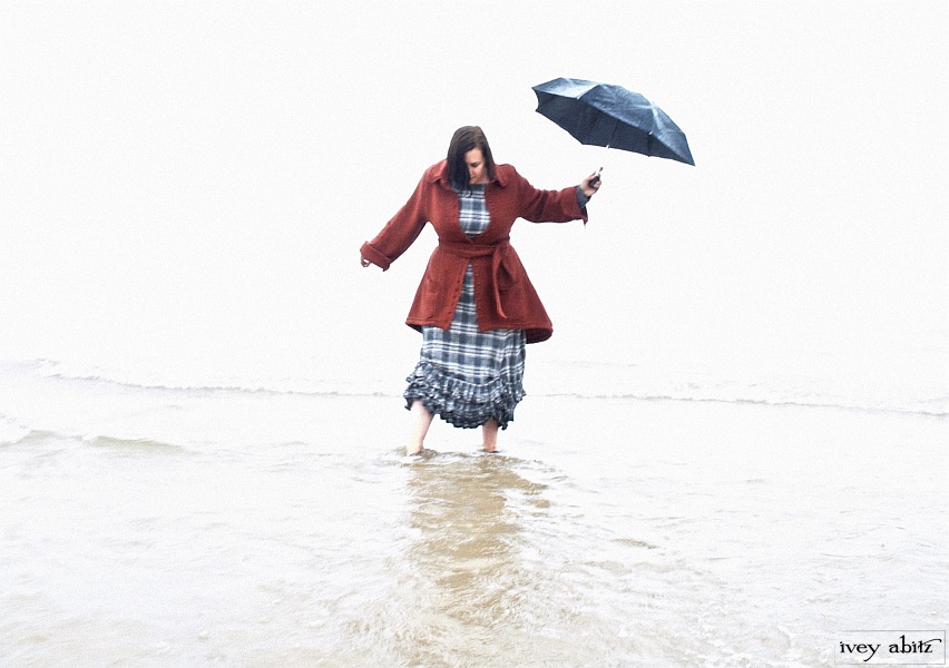 Fennefleur Frock in plaid cotton with an Amorette Shirt Jacket in an extraordinary wool knit. Photographed in Lake Huron and appropriate in any body of water.