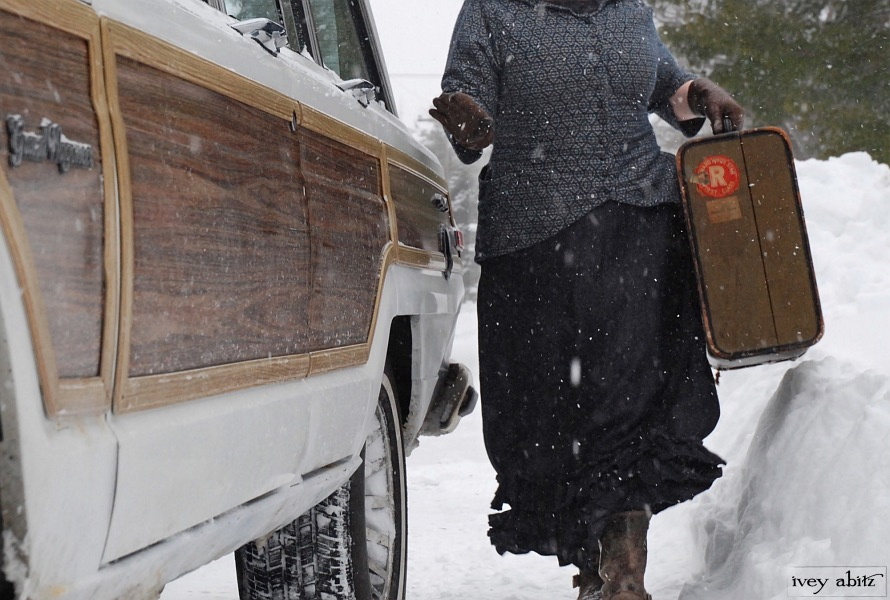 Truitt Jacket and Fennefleur Frock in snow next to the old Wagoneer.