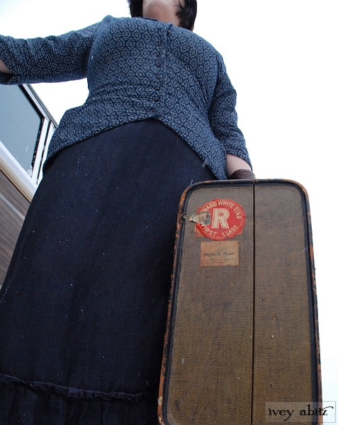 Truitt Jacket and Fennefleur Frock with vintage luggage.