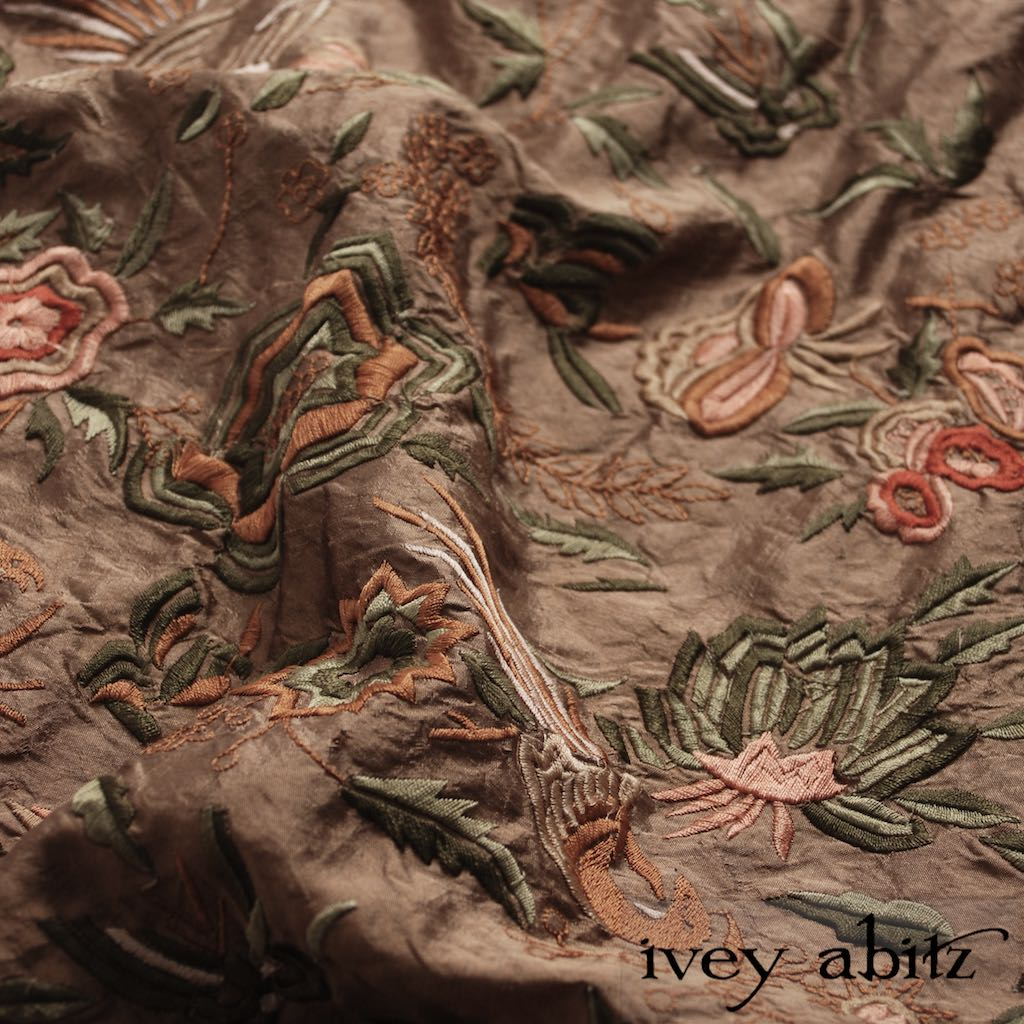 Birdsong Embroidered Silk for Ivey Abitz bespoke designs