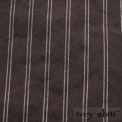 Grasmere Frock in Feather Brown Stretchy Striped Cotton - Size Medium