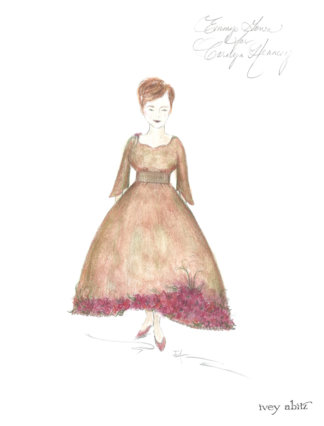 Front view of concept painting for Carolyn Hennesy Emmy Dress 2018 by Ivey Abitz