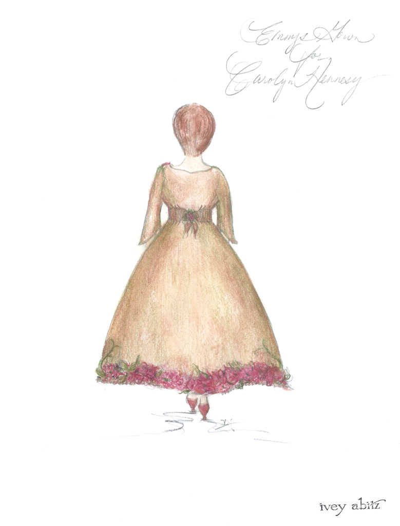 Back view of concept painting for Carolyn Hennesy Emmy Dress 2018 by Ivey Abitz