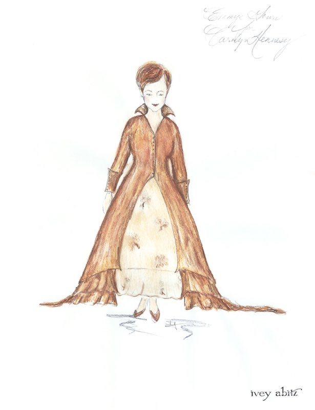 Red Carpet Dress concept painting for host Carolyn Hennesy at the Daytime Creative Arts Emmy Awards, April 27, 2018, by Ivey Abitz. Studio archive image, front view.