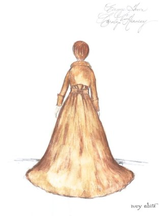 Red Carpet Dress concept painting for host Carolyn Hennesy at the Daytime Creative Arts Emmy Awards, April 27, 2018, by Ivey Abitz. Studio archive image, back view.