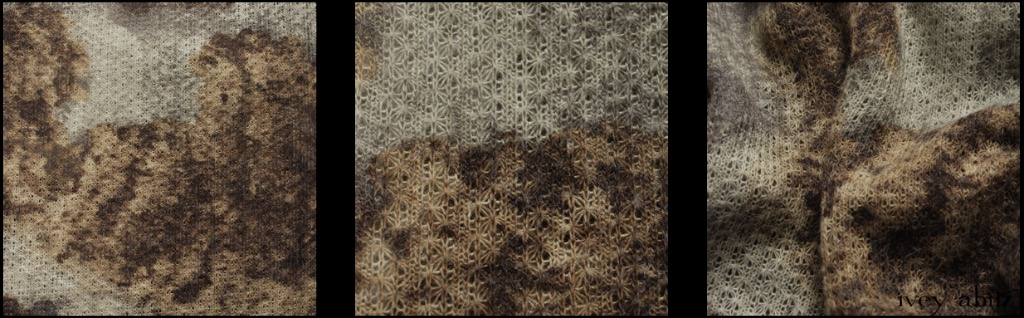 Hydrangea Open Weave Knit - Description: Hydrangeas are an Ivey Abitz favourite and have been the focal point of every garden since their first Tudor home and studio over 20 years ago. That this why this weave has a special place in the Spring 2018 Welcome Home Collection. Muted greens and browns on an open weave wool. Soft and wispy.