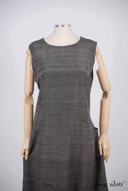 Canterbury Frock in Wolfie Grey Washed Silk