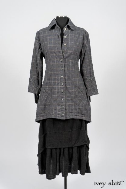 Limited Edition Amorette Shirt Jacket in Lakeland Glen Plaid Weave; Blanchefleur Frock in Black Puckered Check Weave. By Ivey Abitz