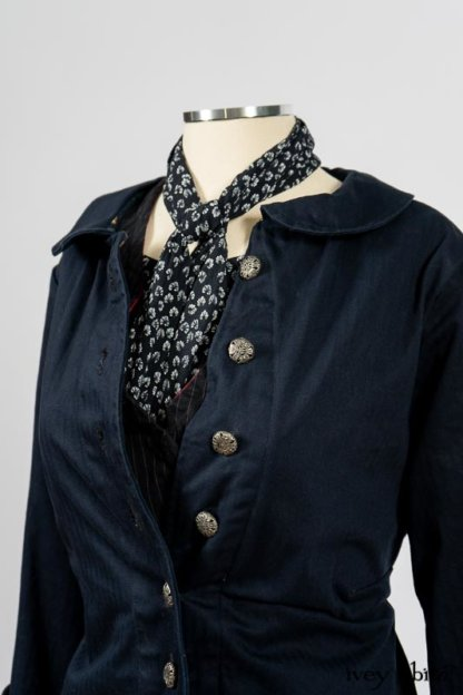 Arthur Hill Jacket in Lakeland Herringbone; Limited Edition Arthur Hill Frock in Royal Pinstripe Twill; Blanchefleur Sash in Lakeland Flutter Weave; Fennefleur Frock in Lakeland Flutter Weave. By Ivey Abitz