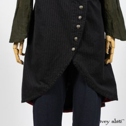 Limited Edition Arthur Hill Frock in Royal Pinstripe Twill; Limited Edition Arthur Hill Shirt in Arthurian Green Cotton Voile; Pierrepont Leggings Breeches in Fresh Water Melange Knit. By Ivey Abitz