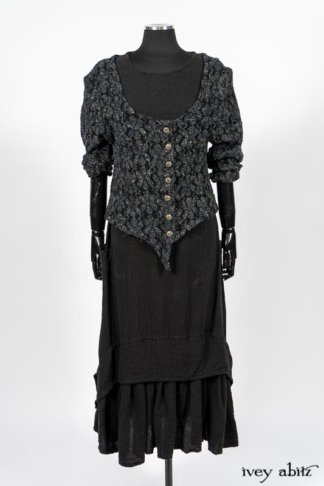 Limited Edition Elliot Jacket in Lakeland Floral Lace Knit; Blanchefleur Frock in Black Puckered Check Weave. By Ivey Abitz