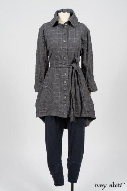 Limited Edition Amorette Shirt Jacket in Lakeland Glen Plaid Weave; Pierrepont Leggings Breeches in Fresh Water Melange Knit. By Ivey Abitz
