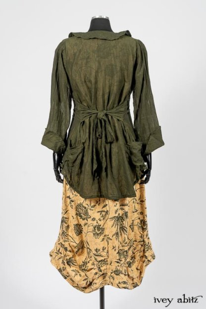 Limited Edition Arthur Hill Shirt in Arthurian Green Cotton Voile; Scattergood Frock in Arthurian Green Floral Washed Linen. By Ivey Abitz