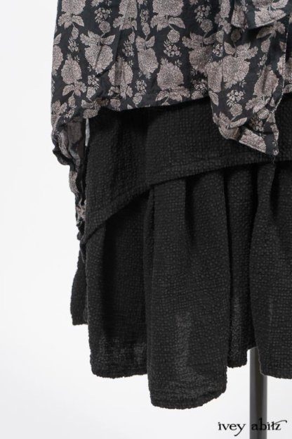 Wildefield Frock in Wolfie Grey Floral Voile; Limited Edition Blanchefleur Sash in Wolfie Grey Floral Voile; Blanchefleur Frock in Black Puckered Check Weave. By Ivey Abitz