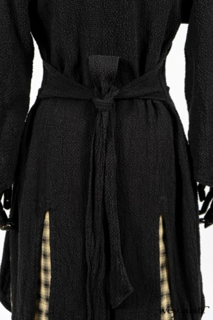Clotaire Sash in Black and Natural Embroidered Floral Weave; Blanchefleur Frock in Black and Natural Plaid Weave; Elsie Duster Coat in Black Puckered Check Weave. By Ivey Abitz