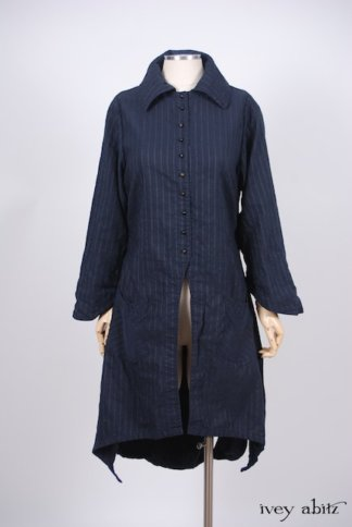 IA101 Elsie Duster Coat in Lakeland Striped Weave 1