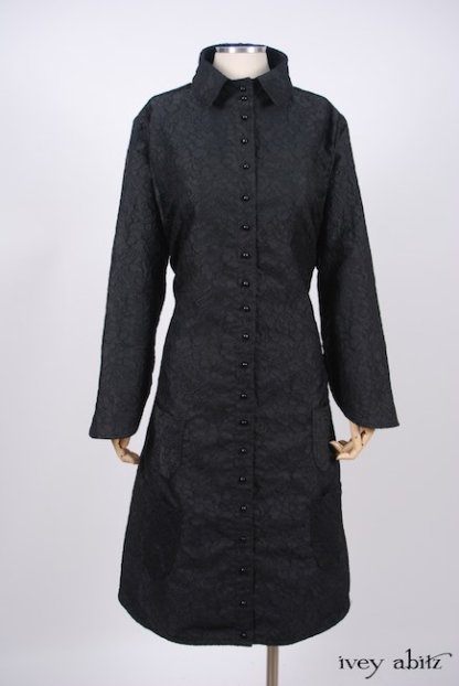 Phinneus Coat Dress in Inkwell Floral Brocade