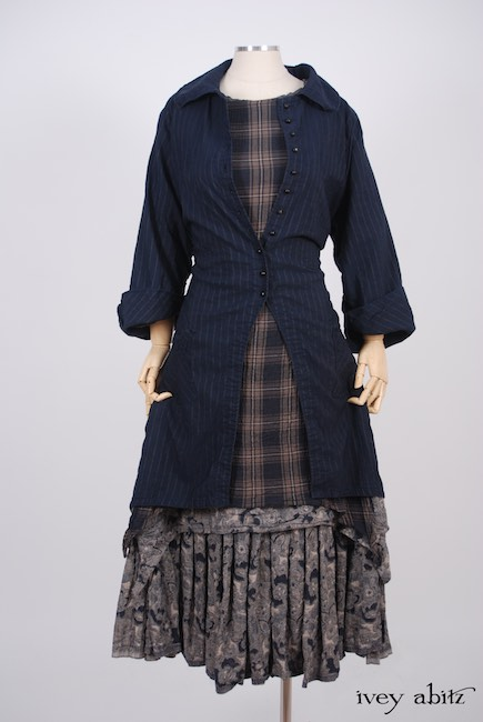 Elsie Duster Coat in Lakeland Striped Weave; Dennison Dress in Lakeland Plaid Cotton Voile; Limited Edition Blanchefleur Frock in Lakeland Floral Weave