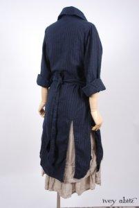 Elsie Duster Coat in Lakeland Striped Weave; Blanchefleur Frock in Natural Old World Linen