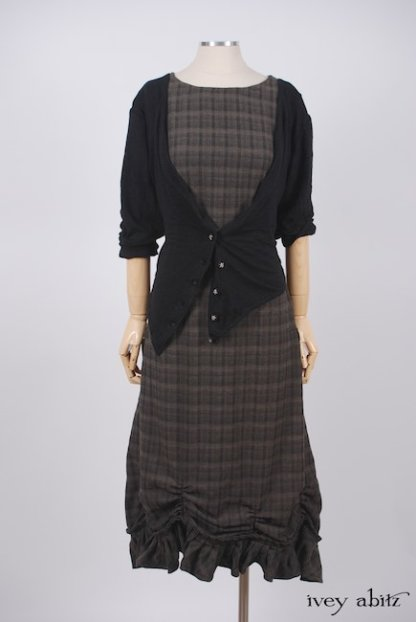 Elliot Jacket in Chimney Lightweight Linen Knit; Edenshire Frock in Brindle Plaid Weave