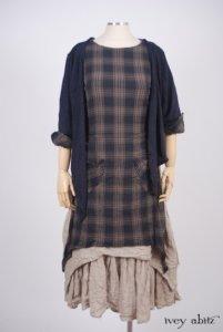 Elliot Jacket in Lakeland Lightweight Linen Knit; Dennison Dress in Lakeland Plaid Cotton Voile; Blanchefleur Frock in Natural Old World Linen