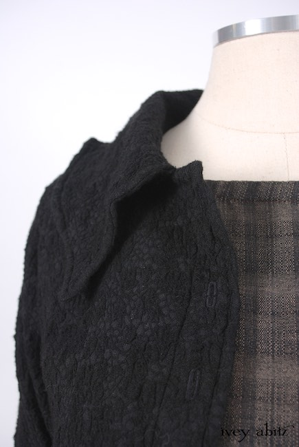 Chittister Shirt Jacket in Inkwell Jacquard Weave; Edenshire Frock in Brindle Plaid Weave by Ivey Abitz - 11