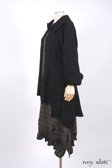 Chittister Shirt Jacket in Inkwell Jacquard Weave; Edenshire Frock in Brindle Plaid Weave by Ivey Abitz - 14