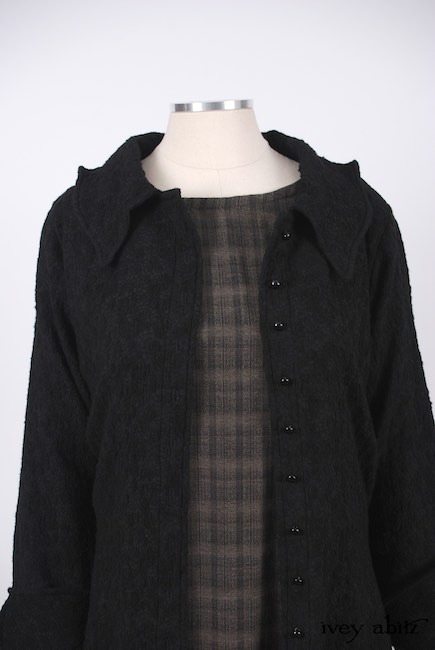 Chittister Shirt Jacket in Inkwell Jacquard Weave; Edenshire Frock in Brindle Plaid Weave by Ivey Abitz