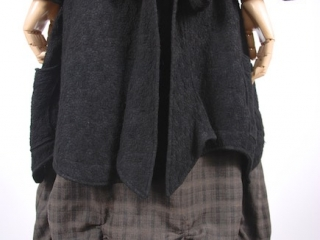 Chittister Shirt Jacket in Inkwell Jacquard Weave; Edenshire Frock in Brindle Plaid Weave by Ivey Abitz - 23