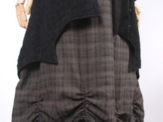 Chittister Shirt Jacket in Inkwell Jacquard Weave; Edenshire Frock in Brindle Plaid Weave by Ivey Abitz - 5