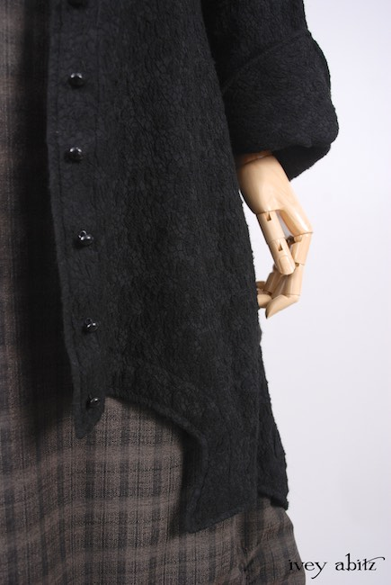 Chittister Shirt Jacket in Inkwell Jacquard Weave; Edenshire Frock in Brindle Plaid Weave by Ivey Abitz - 6