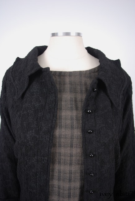 Chittister Shirt Jacket in Inkwell Jacquard Weave; Edenshire Frock in Brindle Plaid Weave by Ivey Abitz - 9