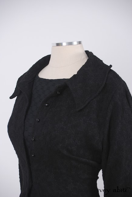 Chittister Shirt Jacket in Inkwell Jacquard Weave; Edenshire Frock in Soot Embroidered Voile