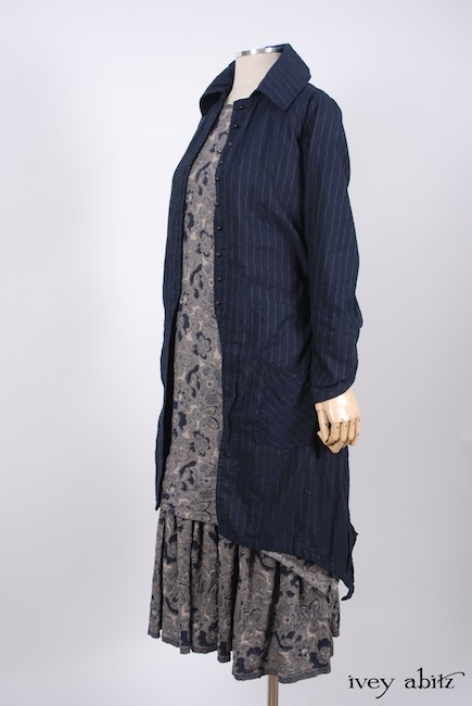 Elsie Duster Coat in Lakeland Striped Weave; Limited Edition Blanchefleur Frock in Lakeland Floral Weave