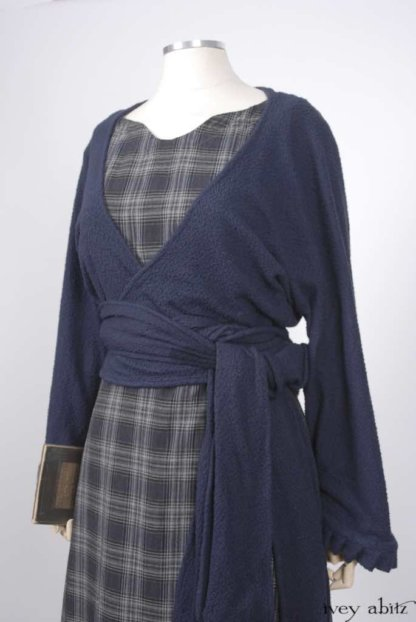 Montmorency Wrap Jacket in Horizon Blue Puckered Knit; Nook Frock in Horizon Blue Plaid Weave; Thatched Frock in Horizon Blue Wispy Washed Linen.   Ivey Abitz Bespoke Clothing.