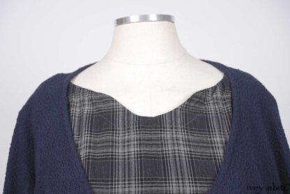 Montmorency Wrap Jacket in Horizon Blue Puckered Knit; Nook Frock in Horizon Blue Plaid Weave; Thatched Frock in Horizon Blue Wispy Washed Linen.   Ivey Abitz Bespoke Clothing.