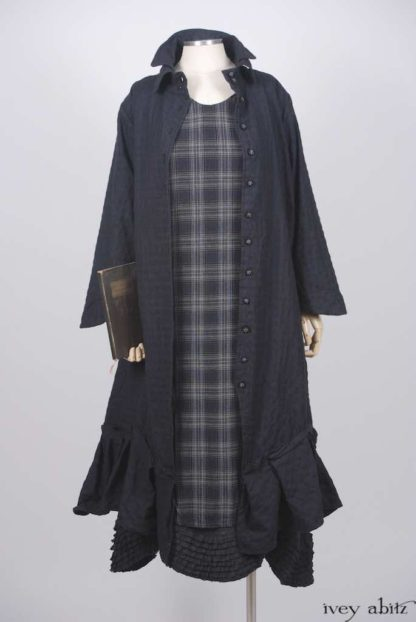 Inglenook Duster Coat in Horizon Blue Checked Soft Wool; Nook Frock in Horizon Blue Plaid Weave; Thatched Frock in Horizon Blue Wispy Washed Linen.   Ivey Abitz Bespoke Clothing.