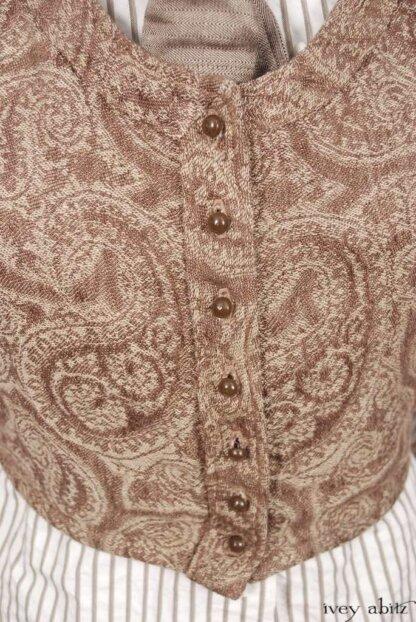 Fairholme Shirt in Antique Parchment Raised Striped Weave; Fairholme Necktie in Antique Parchment Herringbone Weave; Highlands Vest in Antique Parchment Paisley Linen; Hopewell Frock in Antique Parchment Washed Linen.   Ivey Abitz Bespoke Clothing.