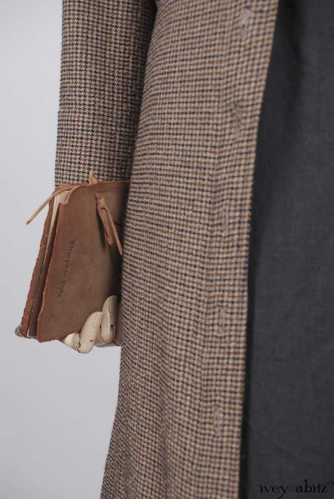 Thatched Duster Coat in First Edition Houndstooth Washed Weave; Thatched Frock in Horizon Blue Wispy Washed Linen; Hopewell Frock in Antique Parchment Washed Linen.   Ivey Abitz Bespoke Clothing.